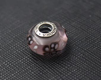 New Authentic Pandora Charm Bead Pink Butterfly Kisses Murano 791621