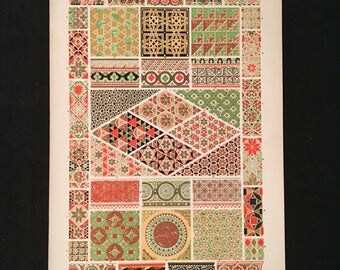Byzantine (mosiacs) No. 3 - Original Owen Jones Print, Grammar of Ornament, Vibrant Color Lithograph, Vintage Decor
