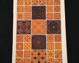Medieval Ornament No. 5 - Encaustic Tiles, Owen Jones - Original Antique Print, Grammar of Ornament, Vintage Decor
