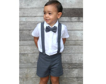 Boy Suspender Shorts-Dark Grey,Linen Shorts,Page Boy,Christening Outfit,Ring Bearer,Baptism boy,Shorts with Braces,Wedding attendant boy