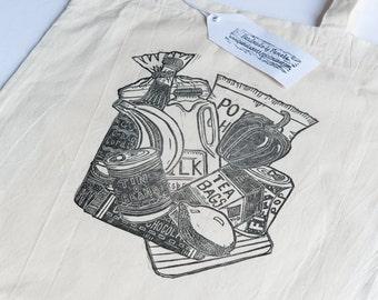 CLEARANCE: Groceries (Linocut printed Tote bag)