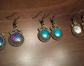 Rainbow Scales Mermaid Dangle Earrings