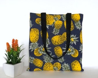 Pineapple Tote Bag, Pineapple Tote, Pineapple Bag, Cotton Canvas Tote Bag, Canvas Tote, Beach Tote Bag, Beach Tote , Gift idea, fruit bags
