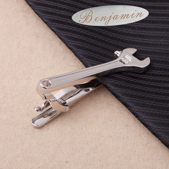 custom tie bar,personalised gift,Wrench Tie Clip,unique tie clips ,Pipe Wrench ,Monkey Wrench, Mens Silver Wrench Mens Accessories,