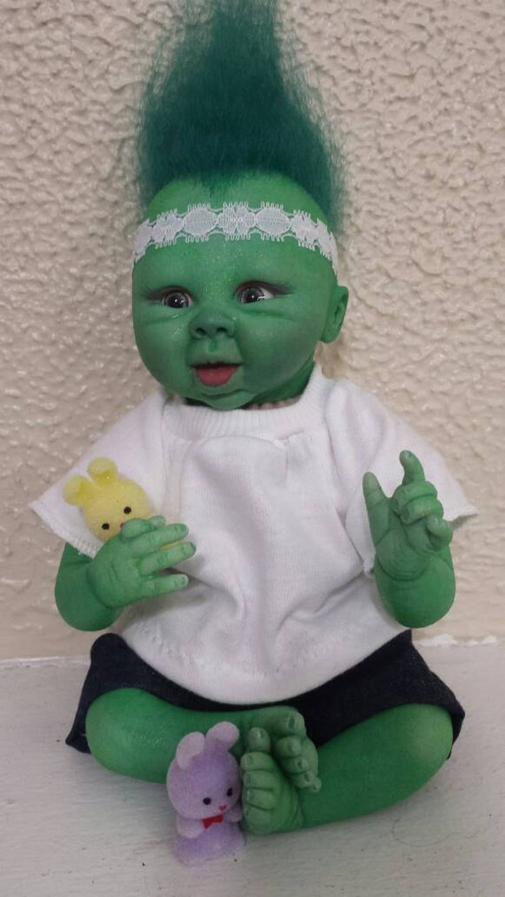 Clover,  Reborn Troll Baby Doll/ fantasy/alternative reborn doll for kids and collectors/ Christmas SALE
