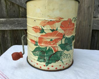 Vintage Rustic 1930s Painted Morning Glories Flour Sifter Cottage Chic Farmhouse Style