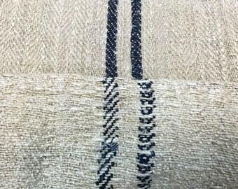 Vintage hemp grain sack, dark blue stripes / grain in old hemp bag