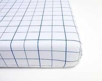 Christmas Crib Sheets, Toddler Bedding Boy, Crib Bedding Blue, Grid Baby Bedding, Fitted Sheets, Navy Crib Sheet, Baby Shower Gift Boy