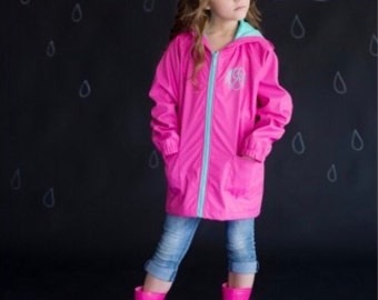 Hot pink rain jacket | Etsy
