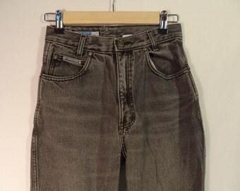 High waist gray mom jeans// Vintage Original Derierres Denim// 80s-90s hipster grunge skinny tapered leg// Women's size XS 2 USA 25W