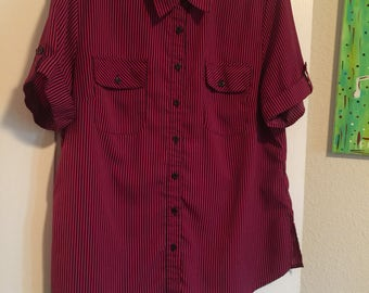Hot pink and black stripped button down shirt - xl