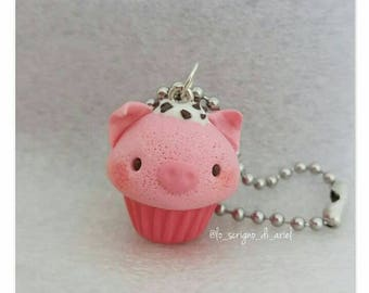 Piggy cupcake : polymer clay charm