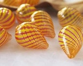 4 Hollow Lampwork Glass Beads Handblown Glass Drop Translucent Red Yellow Size 24 x 17mm