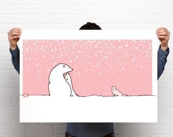 Digital art print of polar bear and fox on high quality paper, art print of polar bear and fox, polar bears and arctic fox art print ,