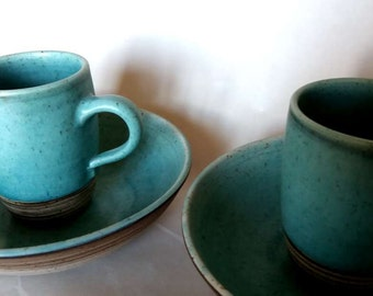 2 - set pasta plates / cups turquoise