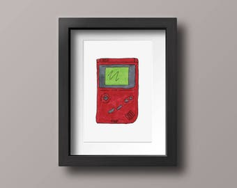 Red Gameboy Classic Marker Illustration, Nintendo Console Wall Art Decor, Gameboy Color Print 4x6, 5x7, 8x10