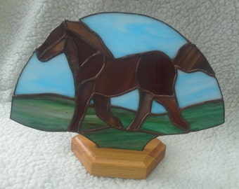 Stained glass horse fan panel