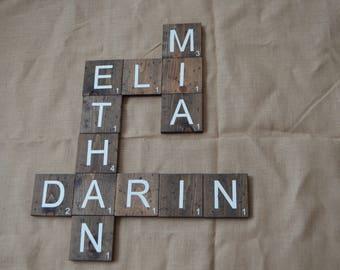 "Large Scrabble Tiles, Scrabble tiles for the wall, hand painted, 5.5"" x 5.5"", scrabble blocks ,smaller font {large quantity 26+}"