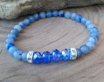 Blue Adventurine, Blue Czech Beads, Silver and Rhinestone