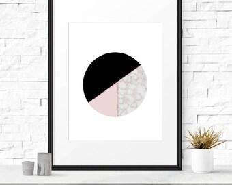 Minimalist wall print, Geometric art print, Pink print, Nordic style, Geometric abstract, Scandinavian design, Home decor, Wall art, Modern