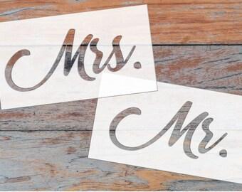"""Mr. & Mrs. Stencils - 9"""" by 5"""""""