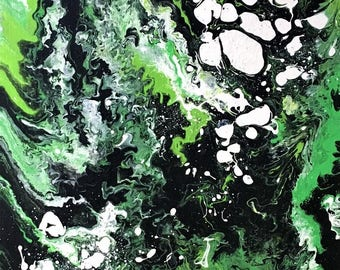 Green, Black, and White Acrylic Painting//Abstract Painting//Acrylic Painting//Green and Black Abstract Art//Green and Black Canvas Painting