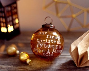 Engagement Christmas ornament, First Christmas Engaged, Personalized Christmas ornament, Glass Christmas Honeycomb bauble, Christmas gift