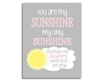 CANVAS Baby Girl Nursery Art Yellow Pink You Are My Sunshine Prints Baby Boy Baby Girl Gender Neutral Baby Nursery Decor CUSTOMIZE COLORS