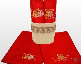 Luxury Embroidered Christmas Red Table Placemats with Linen Basket - Ref. Lyon - Pack of 2 Units