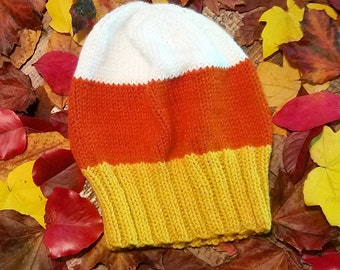 Candy Corn Hat - Adult/Baby Halloween Candy Corn Slouch Hat - Knit Halloween Hat - Knit Fall Hat - 20% OFF!