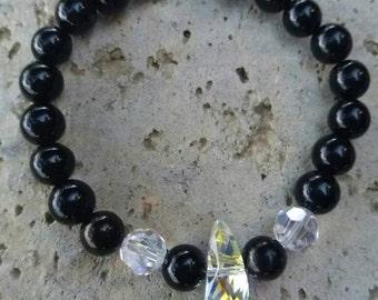 Bracelet énergetisé en onyx, perles swarovski AB