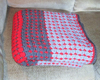 SHIPS FREE* Large Gray and Red Crochet Afghan, Decorator Throw, Large Grey Afghan, Large Crochet Afghan, Large Gray Sofa Throw, Gift for Men