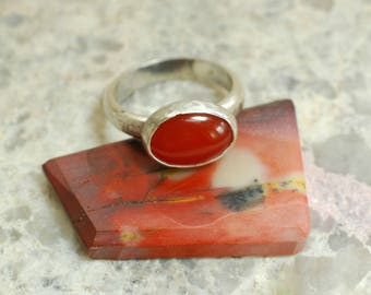 Carnelian Ring, 925 Sterling Silver Band