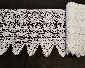 White French Lace, Chantilly/Guipure Fabric, 11 inch Wide  Lace, Vintage 30's, Scallop Edge w/Finished Straight Edge, price per yard