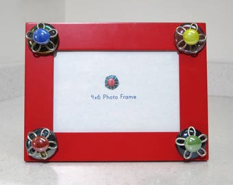 Red Picture Frame, Picture Frame with Flowers, Bright Picture Frame, Colorful Picture Frame, 4X6 Picture Frame