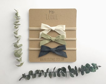 Headbands for baby / child nylon - knotted fabric loops - cream, pale Khaki, dark blue denim or the complete trio