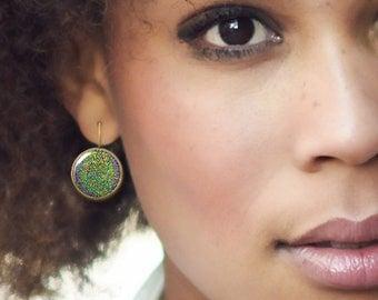 Green glitter earrings, Dangle earrings, Round Leverback earrings, Picture jewelry for women, Mother's day gift, 5073-2