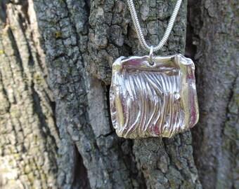 Pure fine silver textured pendant