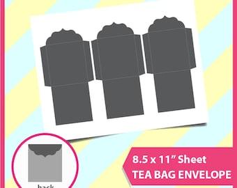 "Instant Download, Fancy Tea Bag Envelope Template, PSD, PNG and SVG Formats,  8.5x11"" sheet,  Printable 032"