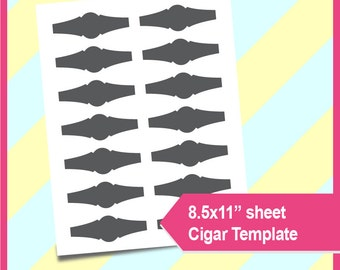 "Cigar wrapper Template, PSD, PNG and SVG Formats,  8.5x11"" sheet,  Printable 027"