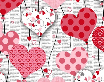 Dear Heart- Per Yd - Studio e - Hearts LOVE Valentine!  Hearts on Grey