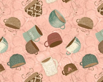 But First COFFEE! - Per Yard - Wilmington - Katie Doucette - Cups on Pink