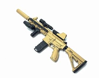 """1/6 Scale Custom Desert HK416 Assault Rifle US Heckler & Koch Light Sand Color Gun Model Fit For 12"""" Action Figure"""