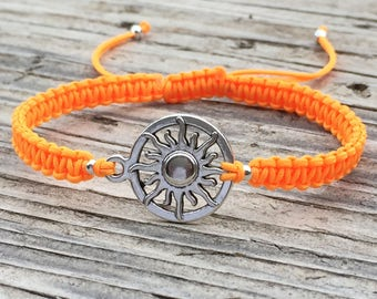 Sun Bracelet, Sun Anklet , Adjustable Macrame Cord Bracelet, Sun Jewelry, Macrame Jewelry, Gift for Her, Celestial Jewelry, Hippie Bracelet