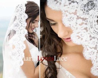 Mantilla Lace Wedding Veil-Cathedral mantilla lace veil-1 tier Cathedral lace wedding veil 619