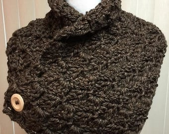 Brown Neckwarmer Scarf, Brown Button Scarf, Brown Crochet Scarf, Brown Neck Warmer Scarf, Brown Scarf with Buttons, Chunky Brown Neckwarmer