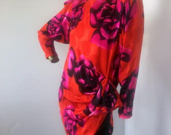FLORA KUNG vintage vintage 1980s silk dress ,be a little flirty in this bold vintage dress sz s