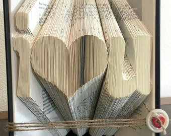 Paper Anniversary Gift For Her, Book Fold Heart, Wife Gift, Romantic Gift For Her, Romantic Gift For Him, Unique Gift For Her,