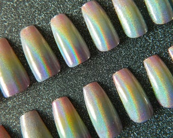 Rainbow Holographic Coffin Nails.