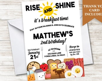 Breakfast Birthday Invitation Eggs and Bacon Pajamas Invite Kids 5x7 Digital Personalized